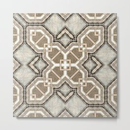Victorian Art Deco Medieval Pattern light gray SB27 Metal Print
