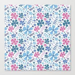 My Little Garden pink &blue Canvas Print