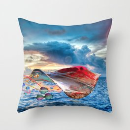 Electric Fying Stinray Throw Pillow