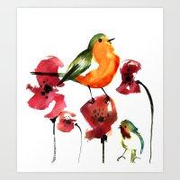 robin Art Prints featuring ROBIN by genie espinosa