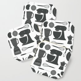 Kitchen Tools (black on white) Coaster