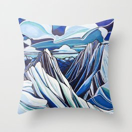 Downie and Boulder in Blue Throw Pillow