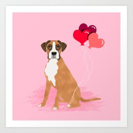 Boxer dog valentines day cute gifts must haves heart balloons boxers pure breed Art Print