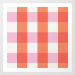 lavender orange plaid gingham Art Print