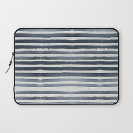 Simply Shibori Stripes Indigo Blue on Lunar Gray Laptop Sleeve