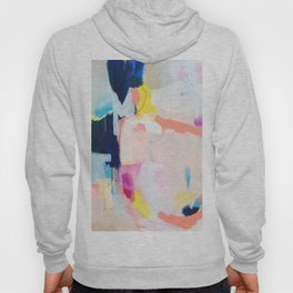 Passions II - abstract art in navy, blush, teal, white, and yellow Hoody