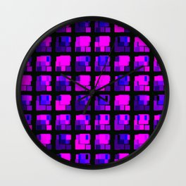 Interweaving tile of violet intersecting rectangles and dark bricks. Wall Clock
