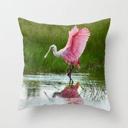 Spoonbill 3 Throw Pillow