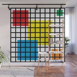 Modern geometric background, red, yellow, green,orange and blue  #society6 #decor #buyart #artprint Wall Mural