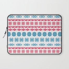 Hand painted blue red watercolor scandinavian geometrical pattern Laptop Sleeve