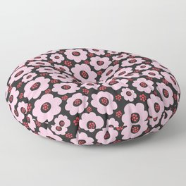 Contemporary Floral Garden Pattern In Pink & Black Floor Pillow