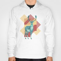 origami Hoodies featuring Origami Deer by Minette Wasserman