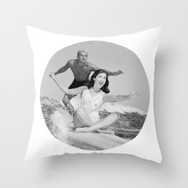 Tandem Couple Surfing Throw Pillow