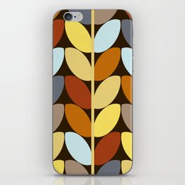 Retro 70s Color Palette Leaf Pattern iPhone Skin