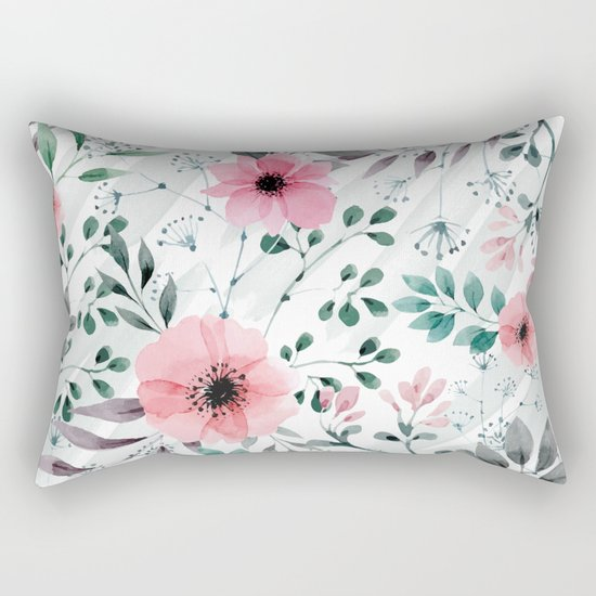 Illustration watercolor flowers and plants Rectangular Pillow
