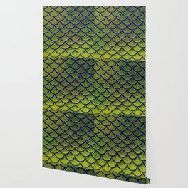 Chartreuse Cobalt Scales Wallpaper
