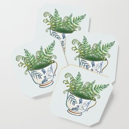 Fern in a Blue and White Tea Cup Coaster