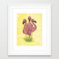 flamingos Framed Art Prints featuring Flamingos  by Amanda James