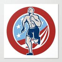 crossfit Canvas Prints featuring American Crossfit Runner Running Retro by patrimonio