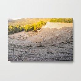 Tilt-Shift Photography of The Great Theatre of Epidaurus  Metal Print