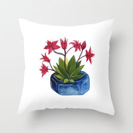 pink flowering succulent Throw Pillow