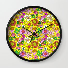 60's Lovers Floral in Sunshine Yellow Wall Clock
