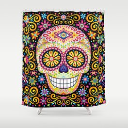 Colorful Sugar Skull - Psychedelic Day of the Dead Skull Art by Thaneeya McArdle Shower Curtain