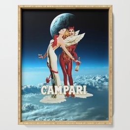 Classic Campari Alcoholic Angel & Devil - Earth, Sun, and Stars Aperitif Advertising Vintage Poster Serving Tray