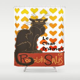 Le Chat Damour De Rodolphe Salis Valentine Cat Shower Curtain