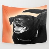 labrador Wall Tapestries featuring Labrador Happy 2 by Jennifer Warmuth Art And Design