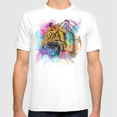 Angry Tiger MEDIUM Mens Fitted Tee White
