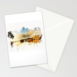 Indian watercolor impression with lat and palace in Udaipur, Rajasthan Stationery Cards