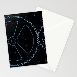 Set of blue gears and cogs on virtual screen Stationery Cards