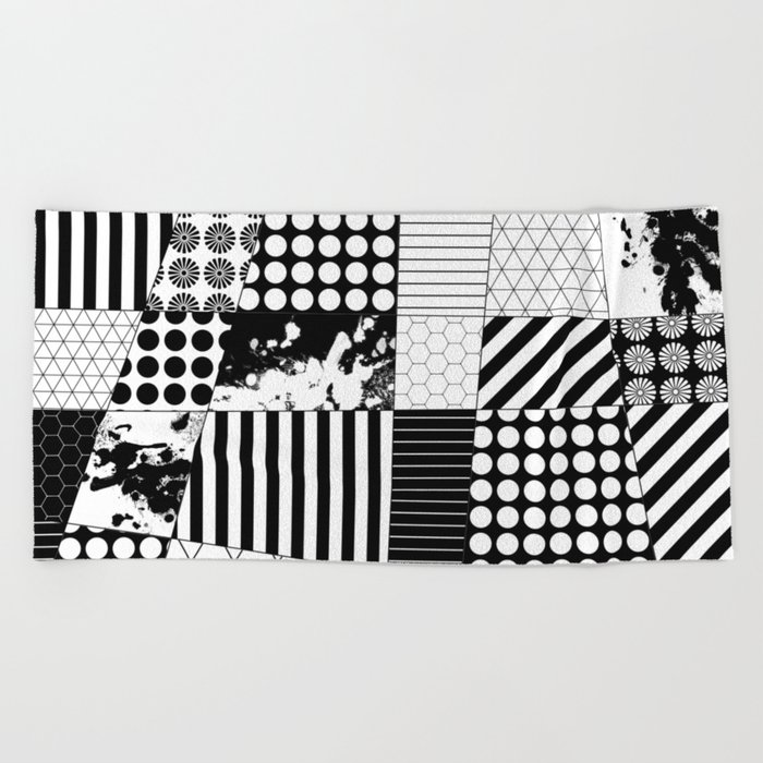 Mosaic Contrast - Black and white, geometric design Beach Towel