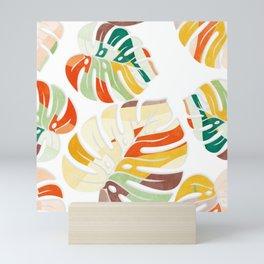 leaves seamless mid century pattern Mini Art Print
