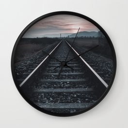 rail road into the Sunset Wall Clock