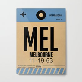 MEL Melbourne Luggage Tag 1 Metal Print