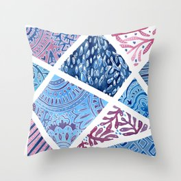 Sectional Patterns - Blue and Purple Throw Pillow