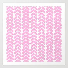 Hand-Drawn Herringbone (Pink & White Pattern) Art Print