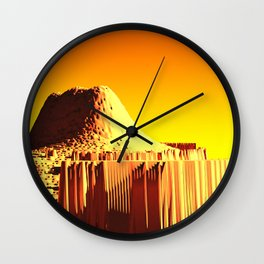 Golden mountain monument landscape nature illustration Wall Clock