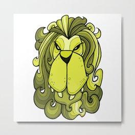 Lion - Lime Punch Metal Print