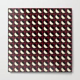 mod pop circles (burgundy white black) Metal Print
