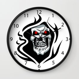 Skull tribal tattoo Wall Clock