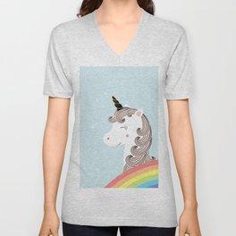 Unicorn and rainbow Unisex V-Neck