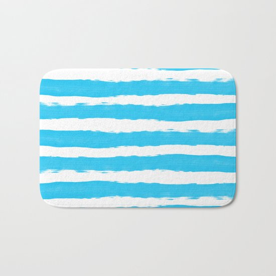 Simple aqua and white handrawn stripes - horizontal - for your summer on #Society6 Bath Mat