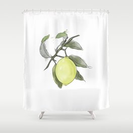 Original Lemon Watercolor Painting #2 Shower Curtain