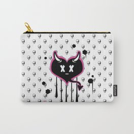 Evil Heart with Devil's Horns, Tail and Skulls Carry-All Pouch