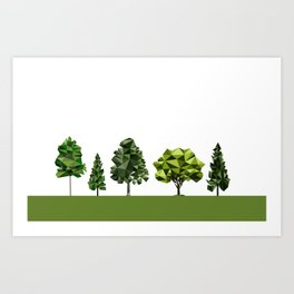 Poly geometric trees Art Print