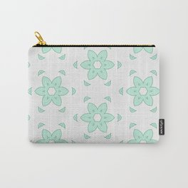 Minty Flower Carry-All Pouch