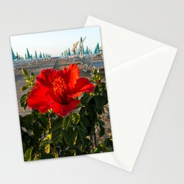 Red Beach Flower Stationery Cards